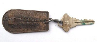 Vtg 1970's OXFORD HOUSE CHICAGO ILLINOIS (Room 511) Hotel Key & Key Chain