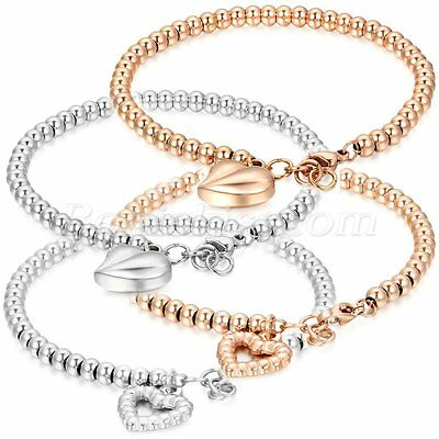Women's Ladies Stainless Steel Round Beaded Chain Charm Heart Dangle Bracelet