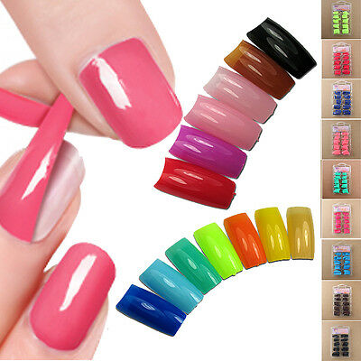 Best 100 PCS False Acrylic Gel French Nail Art Half Tips Salon 10Size 24 Colors