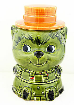 Vintage 1960s Kitsch Fat Cat Cookie Jar Biscuit Barrel Retro Animals Kitchen 50s