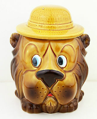 Vintage 1960s Kitsch Lion Cookie Jar Biscuit Barrel Retro Animals Kitchenalia