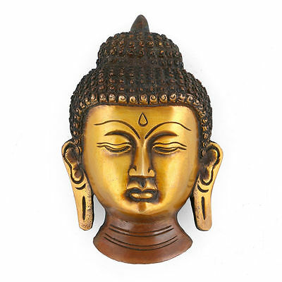Buddha Wall Hanging Face Antique Vintage Finish Sculpture Tibet Mask Home Decor