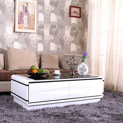 Modern White High Gloss MDF Coffee Table With 4 Drawers Cabinet Living Room