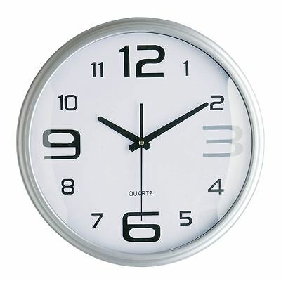 Modern Round WALL CLOCK Silver Large Small Number Decoration