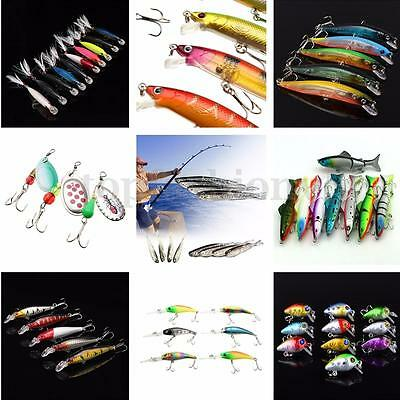 1~30x Esche Artificiali Pesca Minnow Bass Spinning Mare Fishing Lures Crank Bait