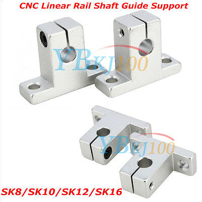 Durable 2Pcs SK8/10/12/16 Bearing CNC Aluminum Linear Rail Shaft Guide Support