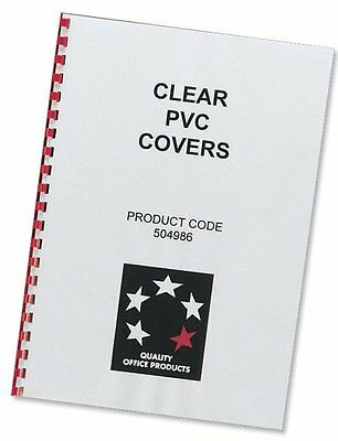 5 Star Office Comb Binding Covers PVC 150 micron A4 Clear (Pack of 100) - NEW!