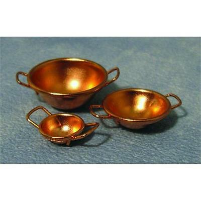 Pack of 3 x 12th Scale Dolls House Copper Bowls D2058