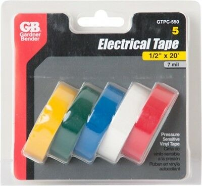 """Elec Tape,1/2""""X20' Asst Colors by GB ELECTRICAL, INC"""