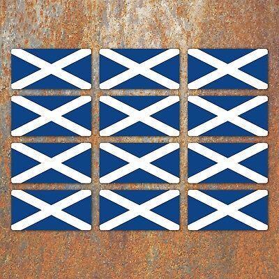 Scottish Flag Laminated Stickers Small 12x 45x22mm Scotland motorbike Decals