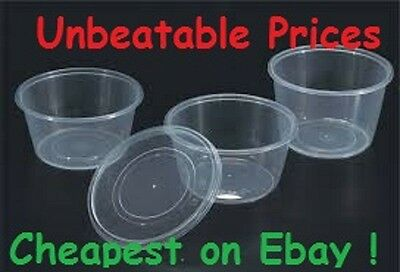 Plastic Round Containers Tubs Pots & Lids Clear Microwave Safe Food Takeaway