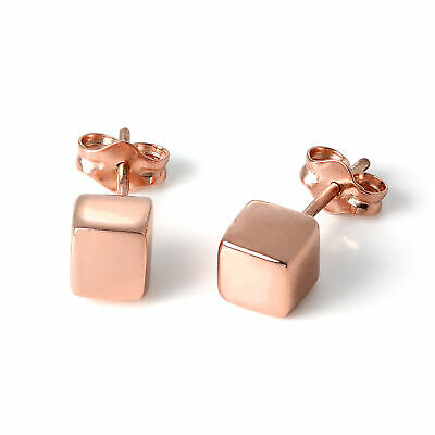 Rose Gold Dipped Sterling Silver 5mm Cube Stud Earrings Square Simple