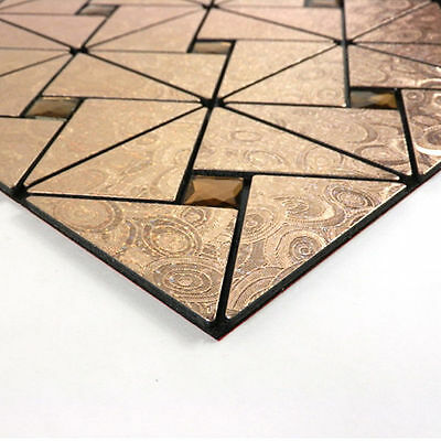 Easy Install DIY Self-adhesive Metal Tile 12x12 in Triangle Grid Mossaic Bronze