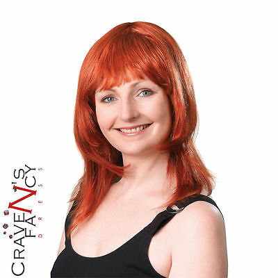 Ladies Ginger Red Wig Layered Female Fringe Womens Fancy Dress New 70s