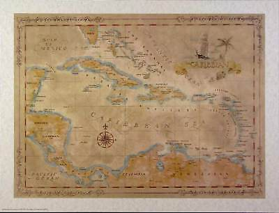 Antique style  CARIBBEAN II Map