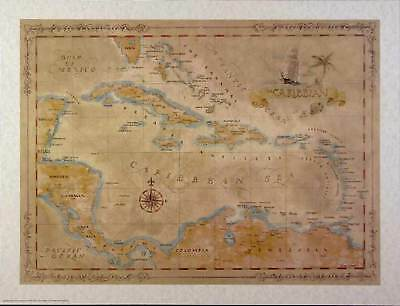 Antique style  CARIBBEAN Map