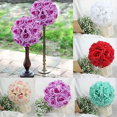 10 pcs Silk Rose Kissing Flower Ball Hanging Bouquet Wedding Party Supply