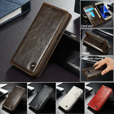 New Flip Magnetic Closing Genuine Leather Wallet Case Cover For Samsung & iPhone