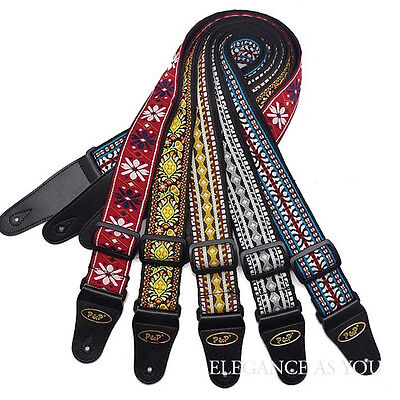 """Psychedelic folk woven guitar straps 2"""" wide hippy psyche far out woven vegan"""