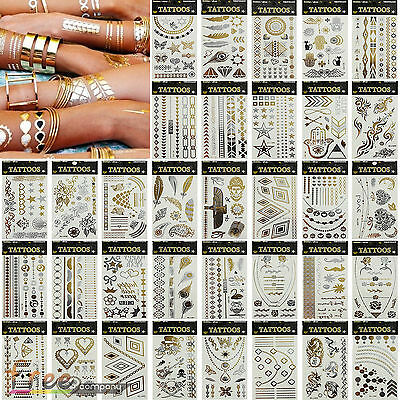Temporary Metallic Tattoos Silver Gold Inspired Body Makeup Stickers Jewellery