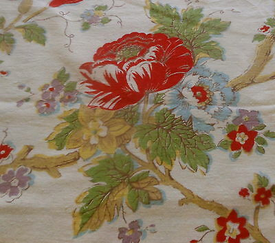 Antique Vtg. French Indienne Tree of Life Floral Cotton Fabric ~ red blue green