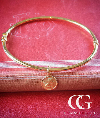 Fine 9ct Yellow Gold Bangle with Angel Charm