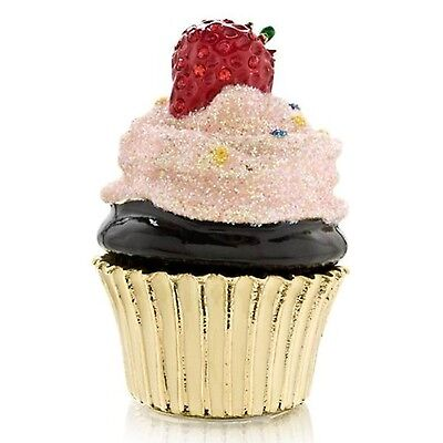 Bejeweled Cupcake with Strawberry Trinket Box - Enamel Crystals - Welforth