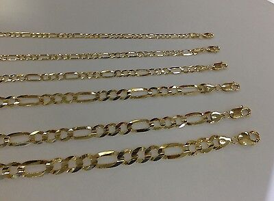 """3mm-9mm 14K SOLID YELLOW GOLD FIGARO LINK WOMEN/ MEN'S NECKLACE CHAIN 16""""-30"""""""