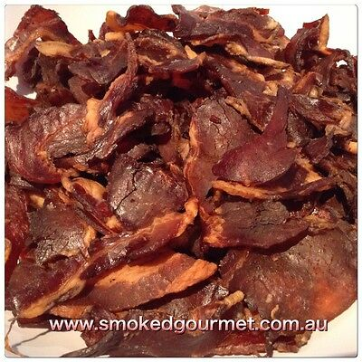 Smoked Gourmet All Natural Premium Bacon Jerky Protein school work snack 250g