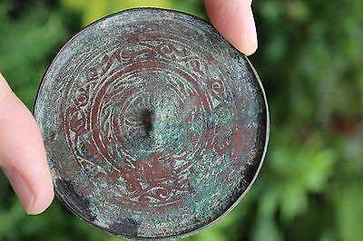 Genuine Islamic Persian Middle Eastern bronze mirror, circa 900-1100 AD