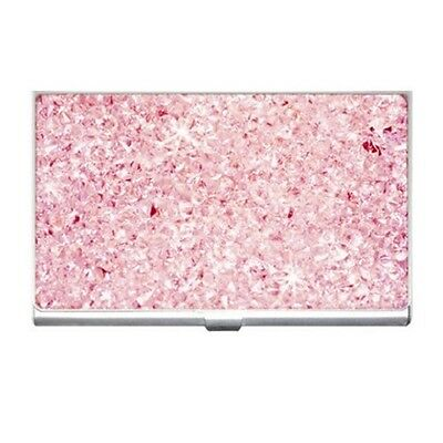 Crystal Pink Glitter - Business Name Credit Id Card Holder Free Shipping