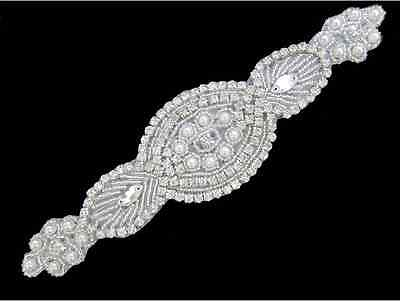 Sew Iron On Hotfix Rhinestone Applique Bridal Wedding Trim Belt Crystal Motif 1