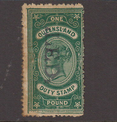 QLD 1892 £1 Green QV STAMP DUTY Revenue-handstamped CANCELLED Elsmore cat $40 FU