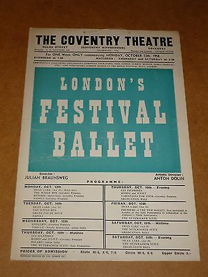 London's Festival Ballet (Dolin) 1958 Coventry Theatre Poster (Window Card)
