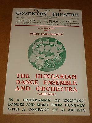 Hungarian Dance Ensemble 1961 Coventry Theatre Poster (Window Card)