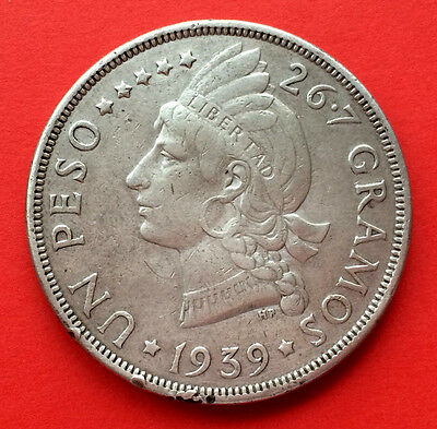 Scarce! Silver coin 1 Peso Dominican Republic. Year 1939. Excellent conditions!