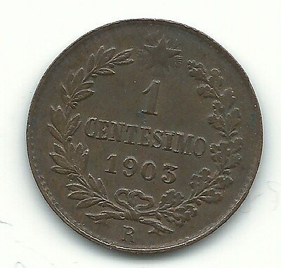 High Grade Xf/au 1903 R One 1 Centesimo Italy Coin-Ape167