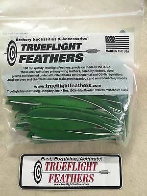 Trueflight 5 inch Feathers Left Wing Parabolic Cut 100 pack Green
