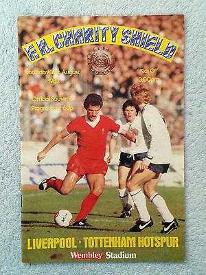 1982 - CHARITY SHIELD PROGRAMME + MATCH TICKET - LIVERPOOL v TOTTENHAM