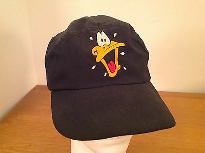 Vintage 1991 Warner Brothers Daffy Duck Face Baseball Cap Hat Black Acme Clothin