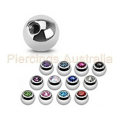 12 x Surgical Steel Gem Balls Spare Parts Body Jewellery Lip Navel Eyebrow