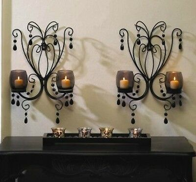 2 Smoked Glass Sconce Candle Holder Wall Decor - Set