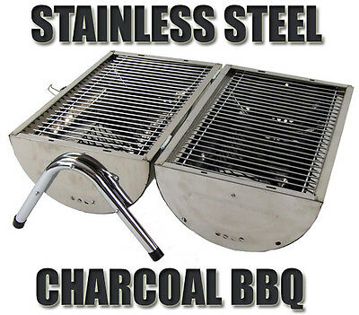 Portable Stainless Steel Barrel Charcoal Grill BBQ Wood Barbecue Camping Picnic