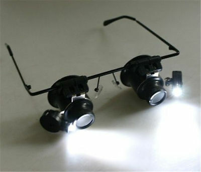 20x Magnifier Glasses Loupe Lens Jeweler Watch Repair LED Light DH