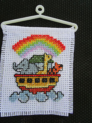 NOAH'S ARK, Completed Cross Stitch Ornament, New, Perfect Gift, Gorgeous Colours