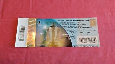 Australia v England  Wales v Italy 2013 Used Rugby League World Cup Ticket