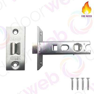 MORTICE TUBULAR LATCH Door Contract Fire Rated Bolt Through Stainless Steel 76mm