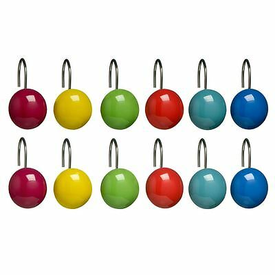 12pc Shower Bathroom Curtain Hooks, Multi Colour Ceramic, Chrome Hook