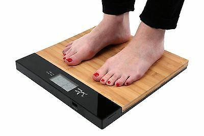 Electronic Bathroom Scale LCD Display, Bamboo/Black, Max Weight 180kg