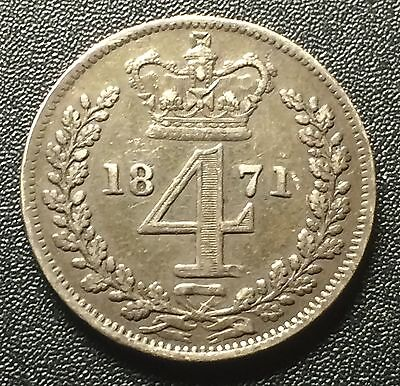 1871 Great Britain 4 Pence Scarce Mintage 4,158